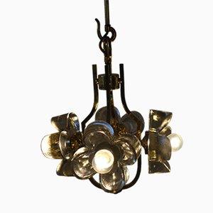 Lámpara de araña floral de vidrio de Simon & Schelle, años 60