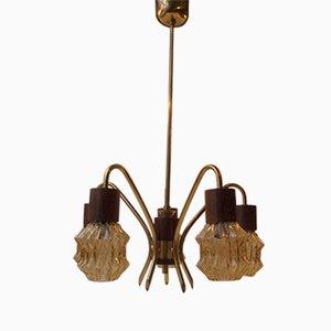 Lampadario a ragno Mid-Century in palissandro, ottone e vetro, Danimarca, anni '50
