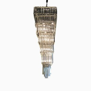 Lámpara de araña italiana grande de vidrio de Nardo Michela, años 70