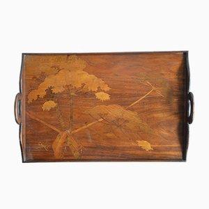 Holztablett mit Intarsie von Gallè