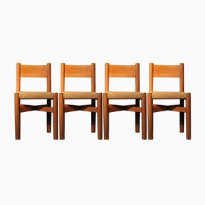 Model Meribel Wood & Rattan Chairs by Charlotte Perriand, 1950s, Set of 4