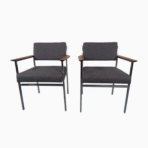 Vintage Armlehnstühle mit Stahlrohrrahmen, 2er Set