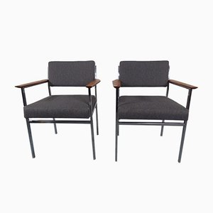 Vintage Square Tubular Steel Armchairs, Set of 2