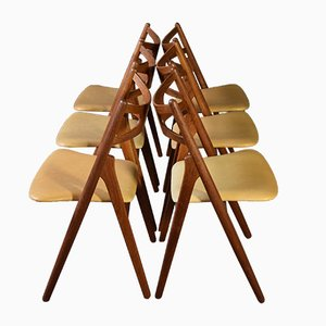 Mid-Century Model CH29 Sawback Dining Chairs by Hans Wegner for Carl Hansen, Set of 6
