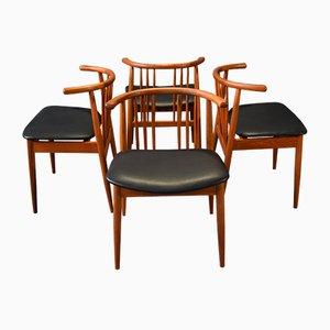 Teakholz Esszimmerstühle von H.P Hansen Randers, 4er Set