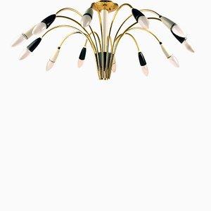 Deutscher Atom Spider-Sputnik Kronleuchter aus Messing mit 12 Leuchten, 1950er