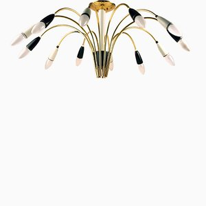 German Atomic Spider Sputnik Brass 12-Armed Chandelier, 1950s