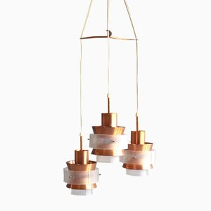 Danish Three Lamp Copper Pendant