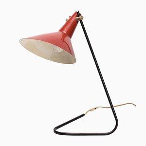 Lampada da tavolo color cremisi, Repubblica Ceca, anni '50