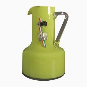 Handgefertigte Italienische Vase aus grünem Glas mit Griff, 1950er