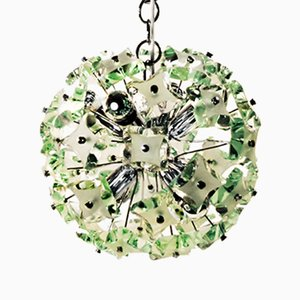 Italian Hanging Lamp with Green Glass and Chrome by Fontana Arte, 1960s