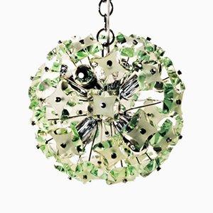 Lampe à Suspension en Verre Vert et Chrome de Fontana Arte, Italie, 1960s