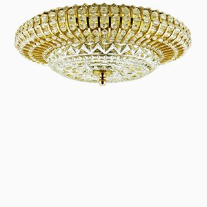 Mid-Century Brass & Glass Ceiling Lamp with Acrylic Beads, 1950s