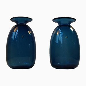 Danish Blue Capri Glass Vases by Jacob E. Bang for Holmegaard, 1960s, Set of 2