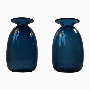 Vasi Capri blu di Jacob E. Bang per Holmegaard, Danimarca, anni '60, set di 2