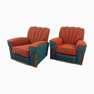 Art Deco British Armchairs, 1930s, Set of 2