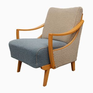 Bi-Color Beige and Pigeon Blue Armchair, 1950s