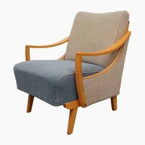 Zweifarbiger Sessel in Beige & Taubenblau, 1950er
