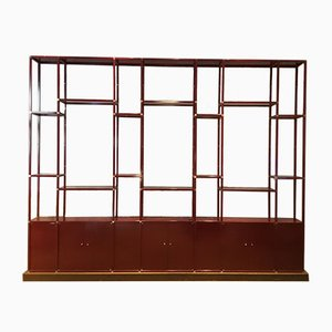 Vintage Bookcase in Laquered Metal and Brass, 1970s