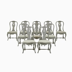 Antique Carved Swedish Rococo Style Chairs, Set of 10