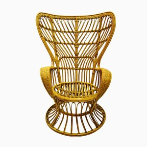 Rattan Armlehnstuhl von Lio Carminati für Casa e Giardino, 1950er