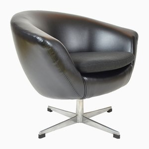 Egg Chair Noire en Simili Cuir par UP Zavody Rousinov