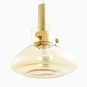 Mid-Century Deckenlampe aus Messing & Glas von Limburg Glashütte