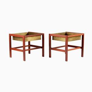 Tavolini Mid-Century in teak e ottone, set di 2