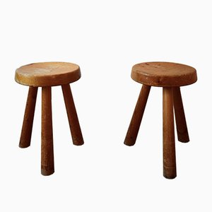 Pine Stools by Charlotte Perriand for Les Arcs, 1960s, Set of 2