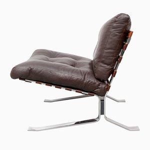 Flachstahl Sessel aus Leder, 1970er