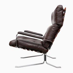 Brauner Sessel aus Flachstahl und Leder, 1970er