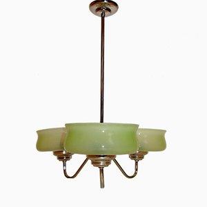 Lampadario vintage in ottone e vetro