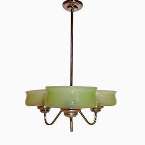 Vintage Brass & Glass Chandelier