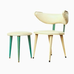 Mid-Century Italian Side Chair & Stool by Umberto Mascagni