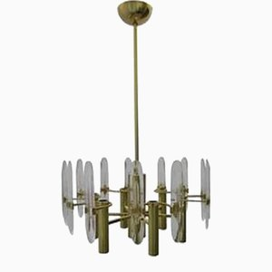 Chandelier with Crystals by Gaetano Sciolari, 1960s