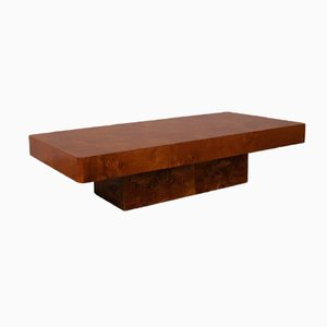 Vintage Rectangular Burl Coffee Table