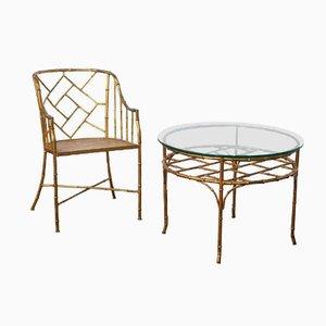 Juego de mesa y silla auxiliar francés vintage de bambú de imitación