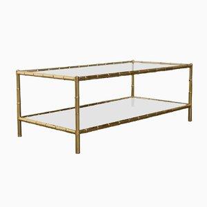 Table Basse Mid-Century en Faux Bambou avec Deux Niveaux