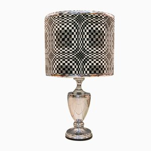 Lampada da tavolo geometrica optical art placcata in cromo, anni '70
