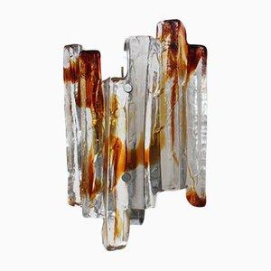 Aplique de pared vintage escultural de cristal de Murano de Mazzega