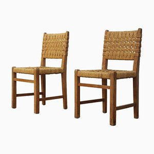 Oak & Rope Side Chairs by Audoux et Minet for Vibo Vesoul, 1950s, Set of 2