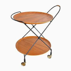 Mid-Century Scandinavian Folding Teak Serving Cart