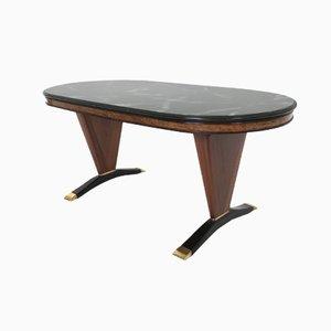 Tavolo in mogano con ripiano in vetro dipinto di nero, anni '50