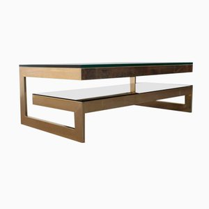 Table Basse Vintage en Forme de G en Or Plaqué
