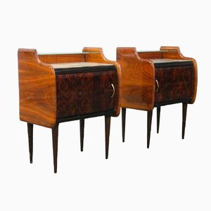 Vintage Italian Burlwood & Rosewood Nightstands, Set of 2