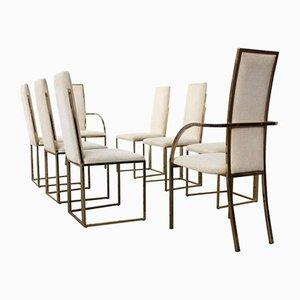 Esszimmerstühle mit Messing-Gestell von Romeo Rega, 1970er, 8er Set
