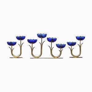 Schwedische Kerzenständer von Gunnar Ander für Ystad Metall, 3er Set