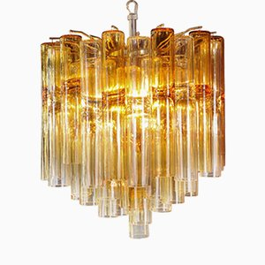 Lampadario modello Calza in ambra di Venini, anni '50