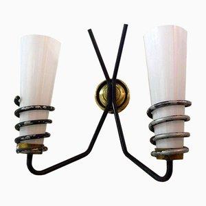 Französische Opalglas Wandlampe, 1950er