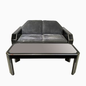 Vintage American Lucite & Velvet Sofa with Coffee Table
